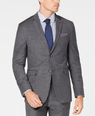 Men's Slim-Fit Sharkskin Solid Suit Jacket