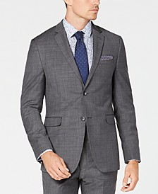 Men's Slim-Fit Sharkskin Solid Suit Jacket