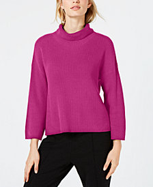 Eileen Fisher Organic Cotton Ribbed Turtleneck Sweater, Created for Macy's