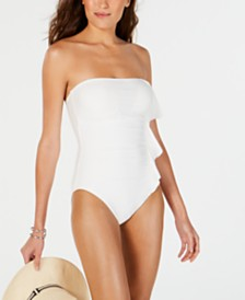DKNY Bandeau Ruffle Front One-Piece Swimsuit, Created For Macy's