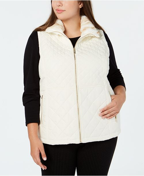 3b89a15a24a4a Calvin Klein Plus Size Quilted Vest With Faux-Fur Collar - Jackets ...