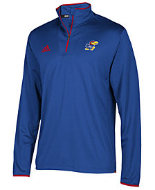 adidas Men's Kansas Jayhawks Team Iconic Quarter-Zip Pullover
