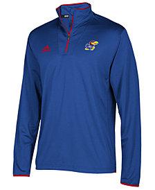 adidas Men's Kansas Jayhawks Team Iconic Quarter-Zip Pullover