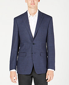 Calvin Klein Men's X Fit Slim-Fit Navy Mini Grid Wool Sport Coat