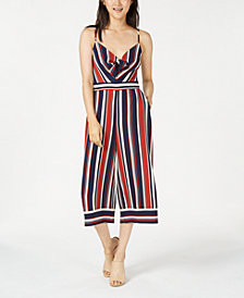 Teeze Me Juniors' Striped Cropped Jumpsuit