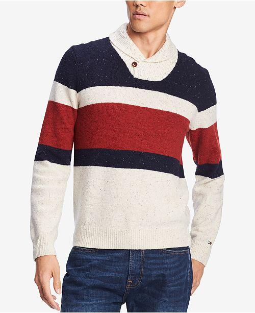 6373bd69aa30 Tommy Hilfiger Men s Spokane Stripe Shawl-Collar Sweater