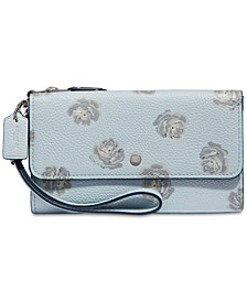 COACH Rose-Print Triple Small Wristlet