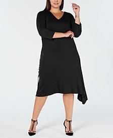 I.N.C. Plus Size Asymmetrical-Hem A-Line Dress, Created for Macy's