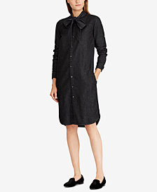 Lauren Ralph Lauren Neck-Tie Denim Cotton Dress