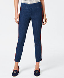 Charter Club Petite Velvet-Trim Tummy-Control Jeans, Created for Macy's