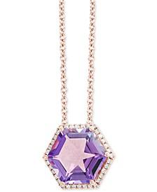 "EFFY® Amethyst (3-1/2 ct. t.w.) & Diamond (1/8 ct. t.w.) 18"" Pendant Necklace in 14k Rose Gold"