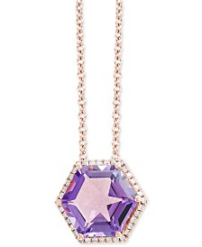 "EFFY® Amethyst (3-1/2 ct. t.w.) & Diamond (1/8 ct. t.w.) 18"" Pendant Necklace in 14k Rose Gold"