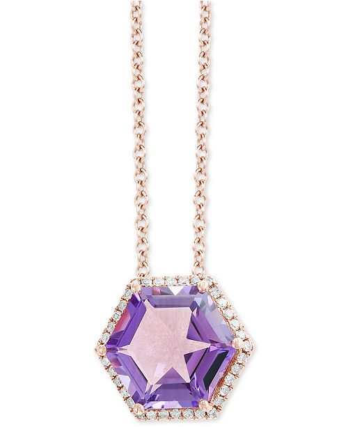 """EFFY Collection EFFY® Amethyst (3-1/2 ct. t.w.) & Diamond (1/8 ct. t.w.) 18"""" Pendant Necklace in 14k Rose Gold"""