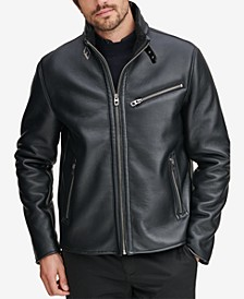 Men's Faux-Leather Full-Zip Moto Jacket, Created for Macy's