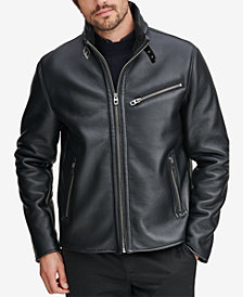 Marc New York Men's Faux-Leather Full-Zip Moto Jacket, Created for Macy's