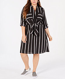 Monteau Trendy Plus Size Striped A-Line Dress