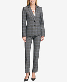 Tommy Hilfiger Plaid Blazer, Split-Neck Shell & Plaid Princeton Slim-Fit Pants