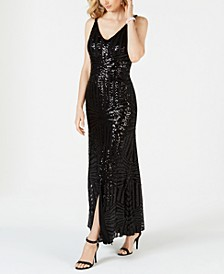 Geo-Sequined Gown