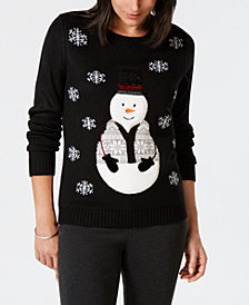 Karen Scott Falling Snow Holiday Snowman Sweater, Created for Macy's