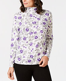 Karen Scott Floral-Print Turtleneck Top, Created for Macy's