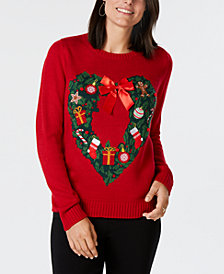 Karen Scott Heart-Shaped Holiday-Wreath Pattern Sweater, Created for Macy's