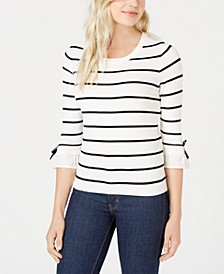 Striped Bow-Trim Sweater, Created for Macy's