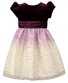 Jayne Copeland Little Girls Velvet Glitter Mesh Dress