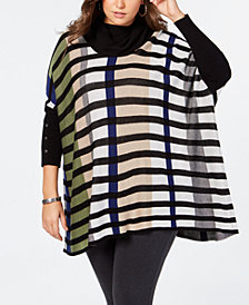 Joseph A Plus Size Striped Poncho Sweater