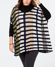 09af72cc0 Joseph A Plus Size Striped Poncho Sweater