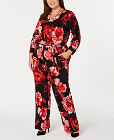 NY Collection Plus & Petite Plus Size Floral-Print Jumpsuit
