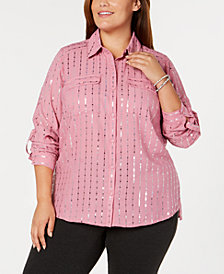 NY Collection Plus Size Foil-Print Utility Shirt