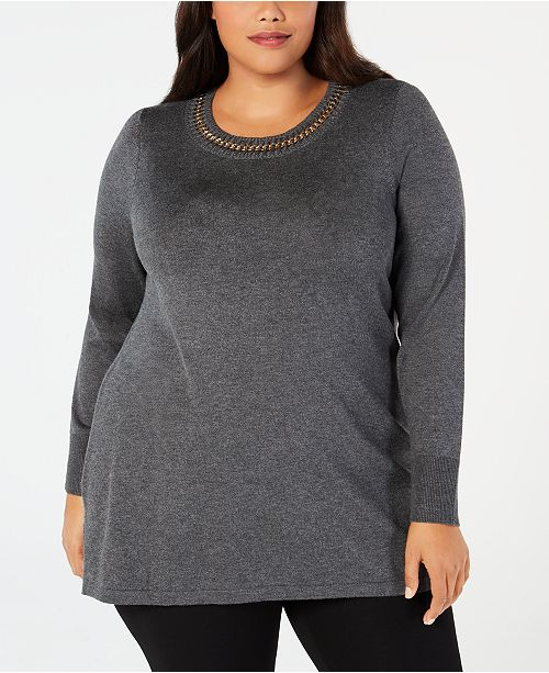 0f1a0a99432 JM Collection Plus Size Chain-Detail Tunic Sweater