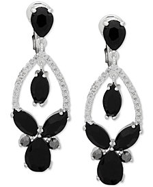Anne Klein Stone & Crystal Teardrop Orbital E-Z Comfort Clip-On Drop Earrings