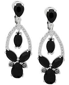 Anne Klein Stone & Crystal Teardrop Orbital E-Z Comfort Clip-On Drop Earrings