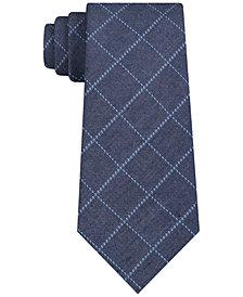 DKNY Men's Channel Chambray Grid Slim Silk Tie