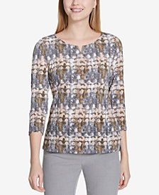 Calvin Klein 3/4-Sleeve Printed Top