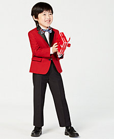Nautica Little Boys 4-Pc. Velvet Jacket, Shirt, Pants & Bowtie Set