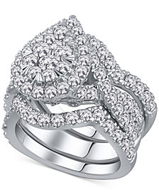 3-Pc. Diamond Pear Cluster Bridal Set (2 ct. t.w.) in 14k White Gold