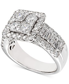 Diamond Square Cluster Engagement Ring (2-1/2 ct. t.w.) in 14k White Gold