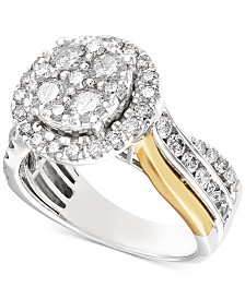 Diamond Two-Tone Halo Cluster Bridal Set (1-1/2 ct. t.w.) in 14k Gold & White Gold