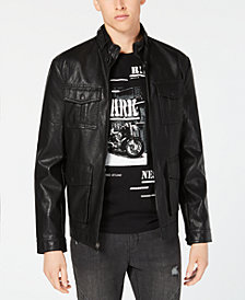 I.N.C. Men's Faux Leather Bomber Jacket, Created for Macy's
