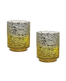 Set Of 2 Lemon Ombre Flared Vases