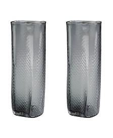 Grey Etched Glass Vase