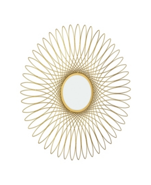 Recognized as the stunningly intricate geometric tracery abundant in Neo-Classical and Medieval ornamentation, the Guilloche design motif offers a cosmatesque version of the sacred infinity symbols found in Ancient Eastern and Hellenic culture stories. Our Guilloche-styled Wall Mirror features a similarly elaborate radiance of graceful metal spirals and a gorgeous Bright Gold finish. Handcrafted.