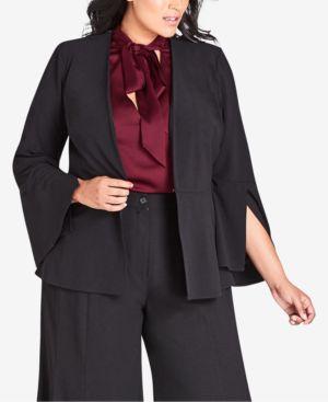 CITY CHIC Noveau Fancy Split Sleeve Jacket in Black
