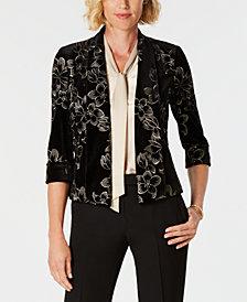 Kasper Floral-Print Velvet Flyaway Jacket
