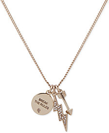 "DKNY Gold-Tone Triple Charm Crystal ""Break the Rules"" Pendant Necklace, 16"" + 3"" extender, Created for Macy's"