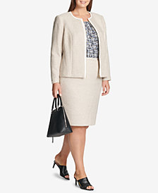 Calvin Klein Plus Size Tweed Zip Jacket, Printed Shell & Pencil Skirt