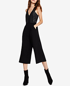 BCBGeneration Cropped Faux-Leather-Contrast Jumpsuit