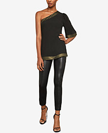 BCBGMAXAZRIA Metallic-Trim One-Shoulder Top